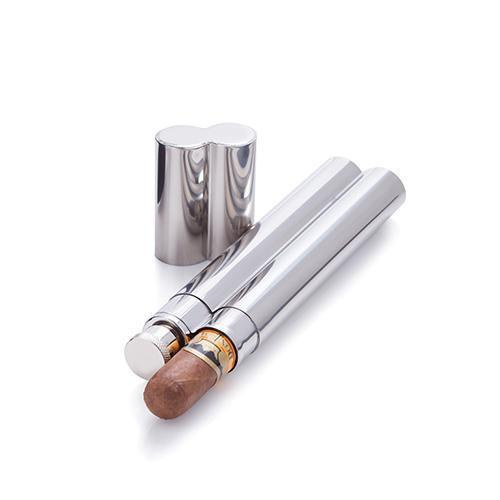 Admiral Stainless Steel Cigar Holder and Flask-Men - Accessories - Cigar Accessories-VISKI-Peccadilly
