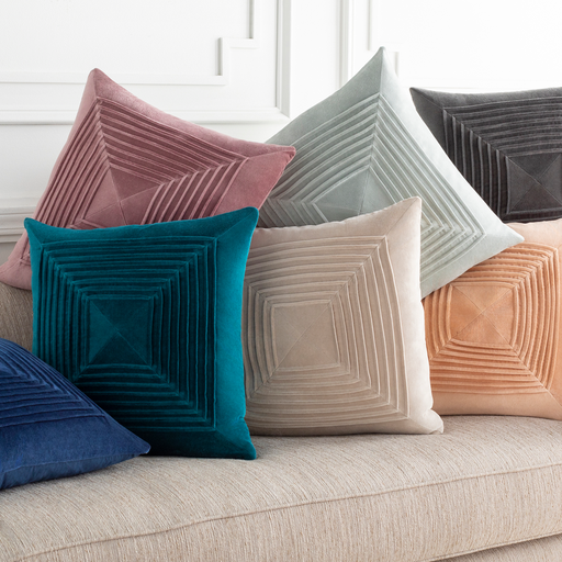Akira Velvet Pleated Pillow-Home - Accessories - Pillows-SURYA-Charcoal-Peccadilly