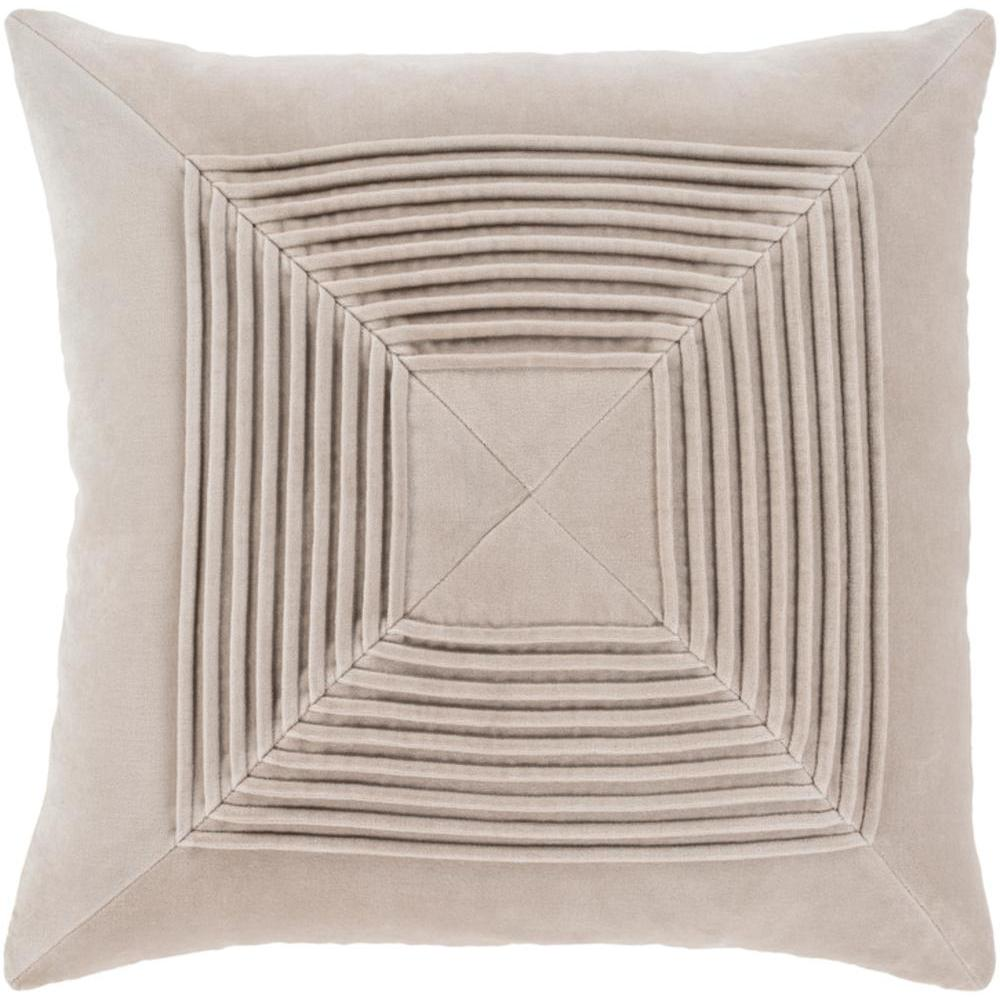 Akira Velvet Pleated Pillow-Home - Accessories - Pillows-SURYA-Beige-Peccadilly