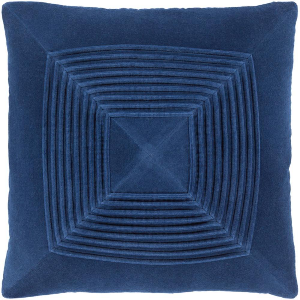 Akira Velvet Pleated Pillow-Home - Accessories - Pillows-SURYA-Navy-Peccadilly