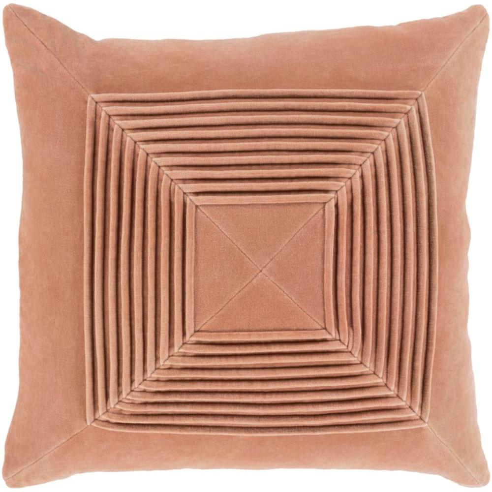 Akira Velvet Pleated Pillow-Home - Accessories - Pillows-SURYA-Peach-Peccadilly