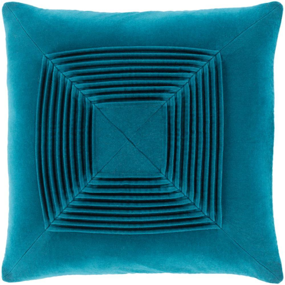Akira Velvet Pleated Pillow-Home - Accessories - Pillows-SURYA-Teal-Peccadilly