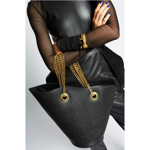 Allison Mitchell Susan Bucket Handbag in Black Pebble Leather