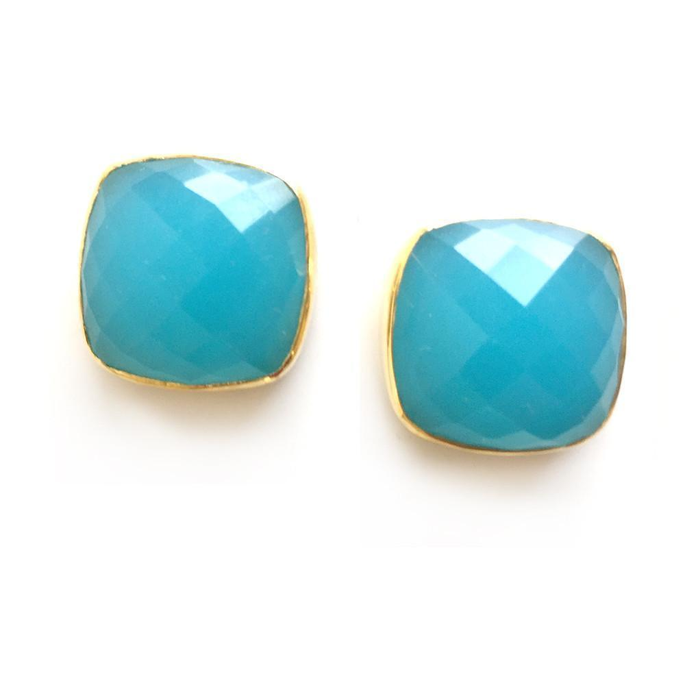 Hutchinson Faceted Genuine Gemstone Studs-Women - Jewelry - Earrings-ADDISON WEEKS-Aquamarine-Peccadilly