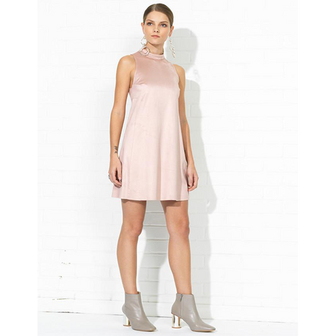 Arlene Mock Turtleneck Suede Dress in Dusty Pink
