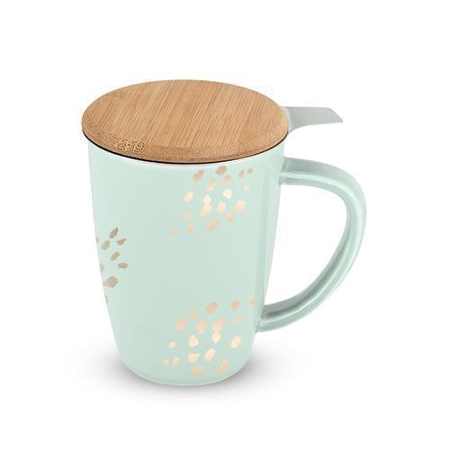 Bailey Ceramic Tea Mug & Infuser Sets-Home - Coffee + Tea - Mugs + Infuser-PINKY UP-Champagne Dots-Peccadilly