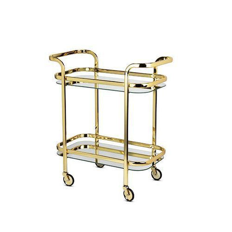 Belmont Gold and Mirrored Glass Bar Cart