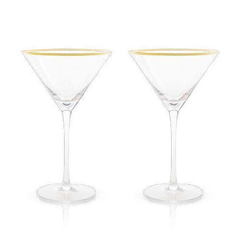 Belmont Gold & Crystal Martini Glasses Set