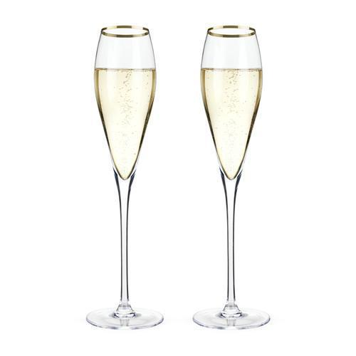 Viski Belmont Gold Rimmed Crystal Champagne Flutes Set-Home - Entertaining - Champagne Glasses Sets - Holiday-VISKI-Peccadilly