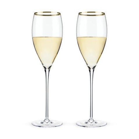 Belmont Gold Rimmed Crystal White Wine Glasses Set of 2