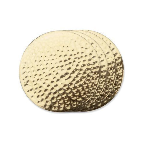 Belmont Hammered Brass Coasters