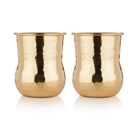 Belmont Hammered Brass Shot Glasses