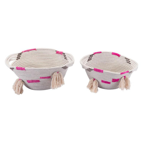 Benin Set Of 2 Global Boho Baskets With Handles