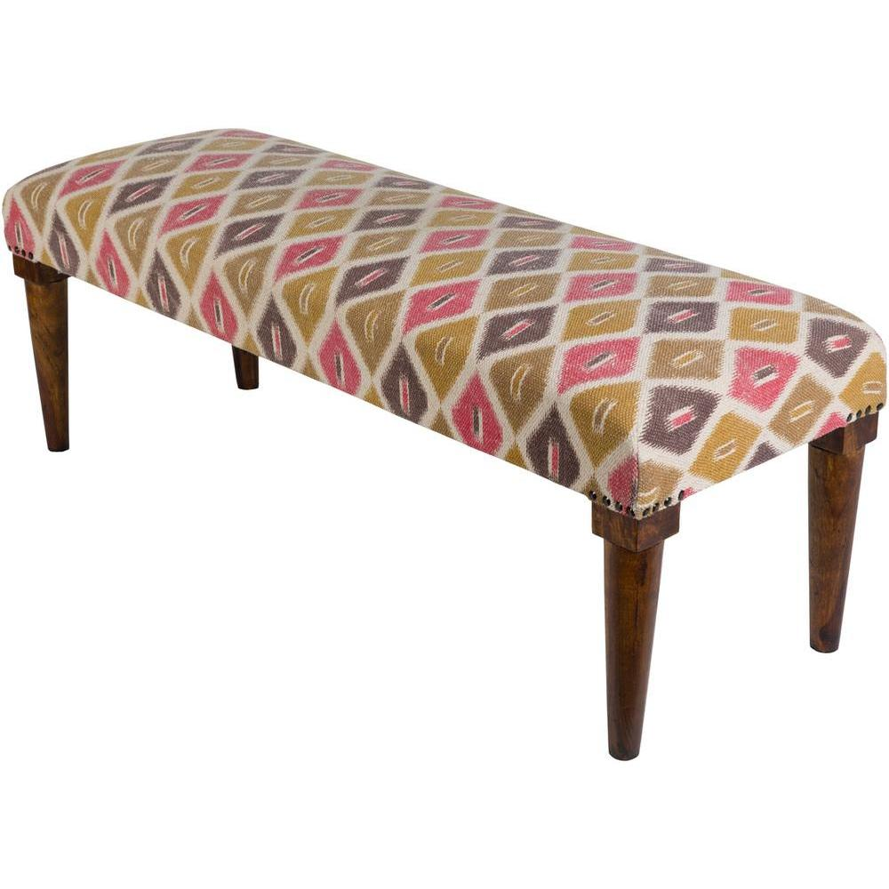 Bhopal 48 x 16 x 18 Bench in Pink Geometric-Home - Furniture - Benches-SURYA-Peccadilly
