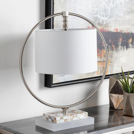 Britton Brushed Nickel Mother of Pearl Inverted Shade Table Lamp-Home - Lighting - Table Lamps-SURYA-Peccadilly