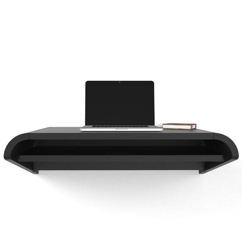 Black Satin Minimal Floating Wall Desk in 36