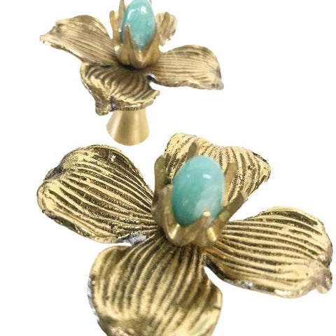 Brass & Genuine Gemstone Flower Designer Drawer Pull