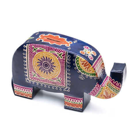 Leather Elephant Coin Bank Fair Trade