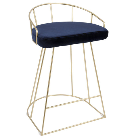 Canary Contemporary Counter Stool in Gold with Blue Velvet - Set of 2