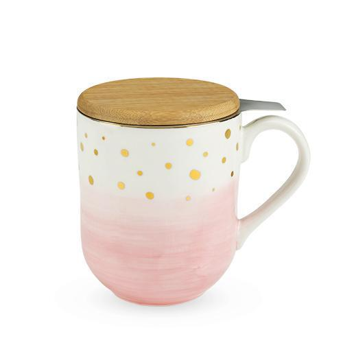 Casey Ceramic Tea Mug & Infuser Sets-PINKY UP-Pink-Peccadilly