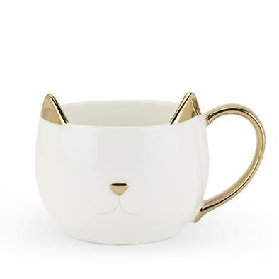 Chloe Cat Ear Ceramic Tea and Coffee Mugs-Home - Coffee + Tea - Mugs-PINKY UP-White-Peccadilly