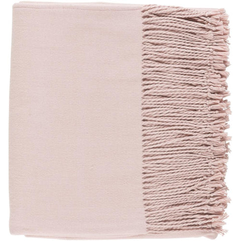 Chantel Silke Cashmere 50 x 60 Woven Solid Color Throw Blanket in Blush