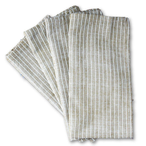 Cocoa Stripes 20 inch Cotton Napkin Set of 4