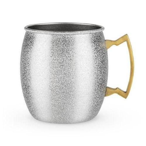 Comet Glittered Moscow Mule Mugs-Home - Entertaining - Cocktail Glasses Sets-BLUSH-Silver-Peccadilly