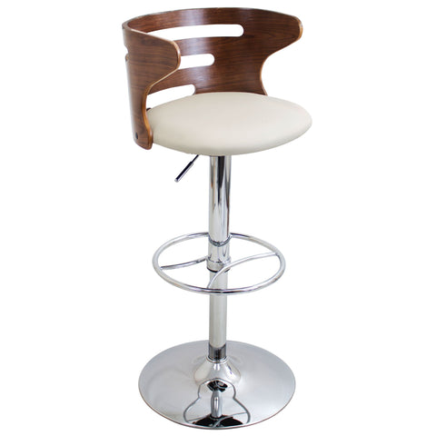 Cosi Mid-Century Modern Adjustable Barstool with Swivel in Walnut and Cream Faux Leather