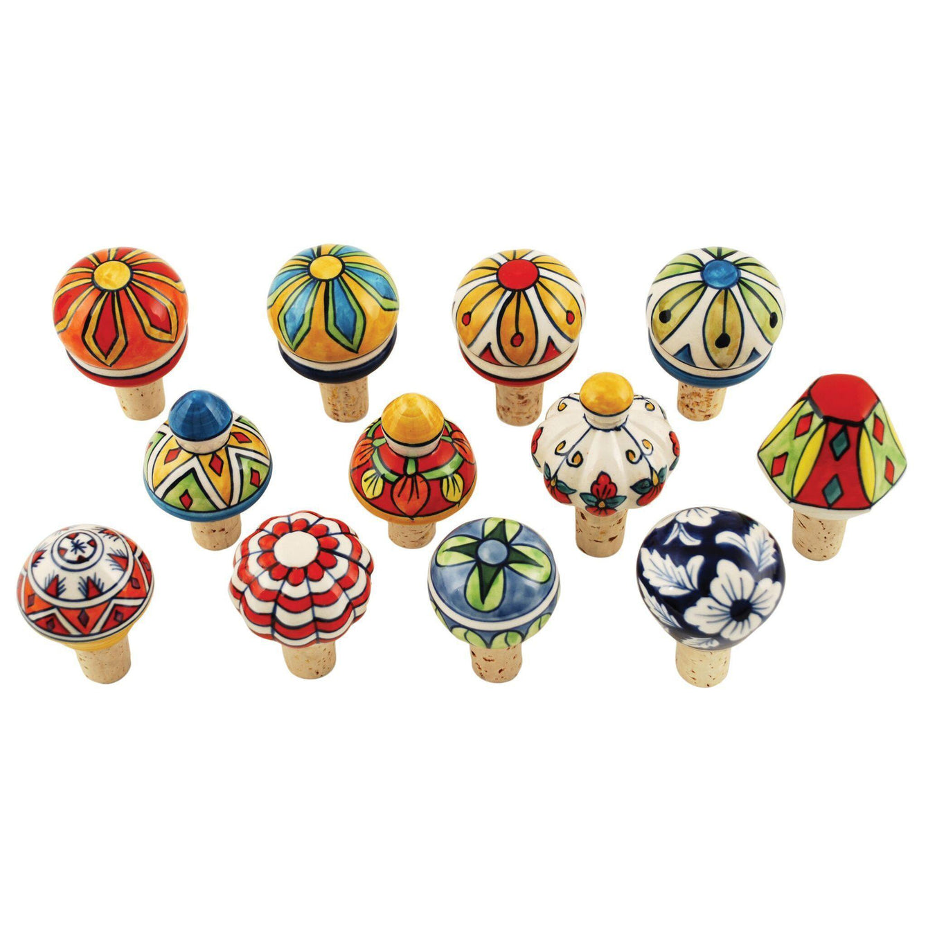Country Cottage Assorted Ceramic Bottle Stoppers Set of 3-Home - Entertaining - Bottle Stoppers-TWINE-Peccadilly