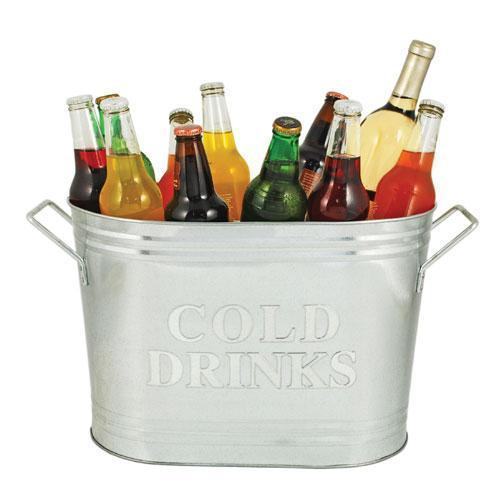 Country Home Cold Drinks Galvanized Metal Tub-TWINE-Peccadilly