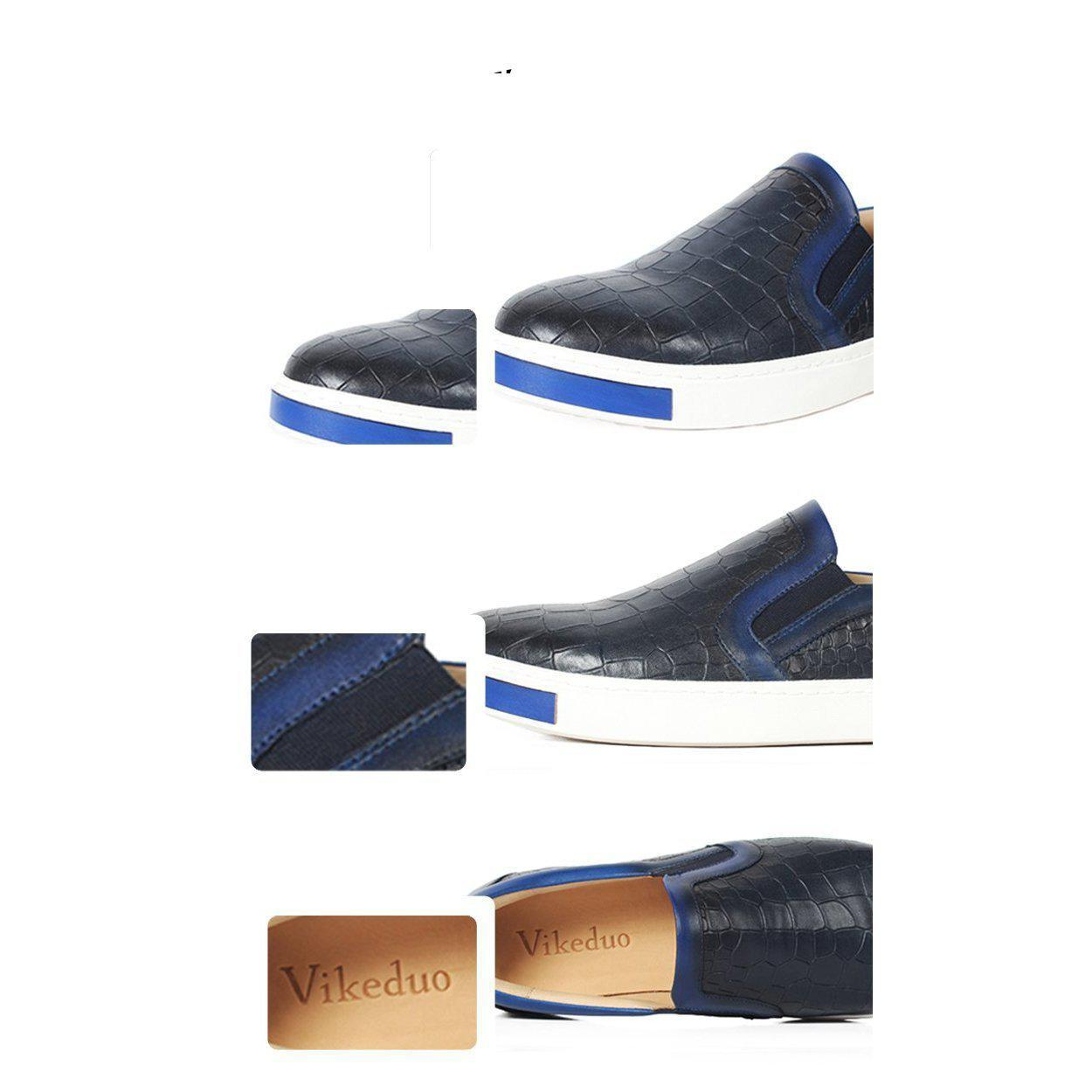 Custom Retro Leather Casual Shoes-Men - Shoes - Casual + Sneakers-VIKEDUO-blue-EU38/US6-Peccadilly