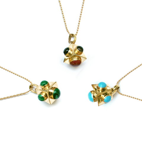 Cutchins Genuine Gemstone 24kt Gold Necklaces