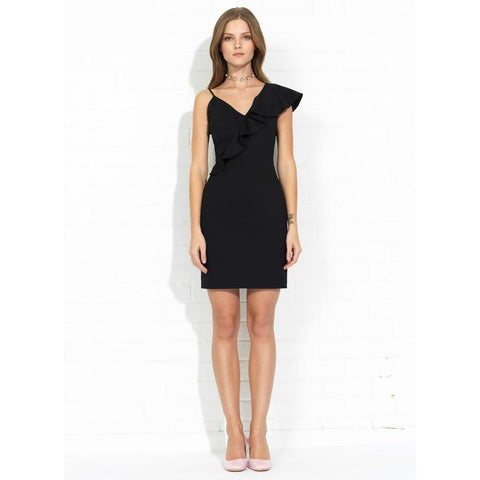 Danica Ruffle Cocktail Dress in Black