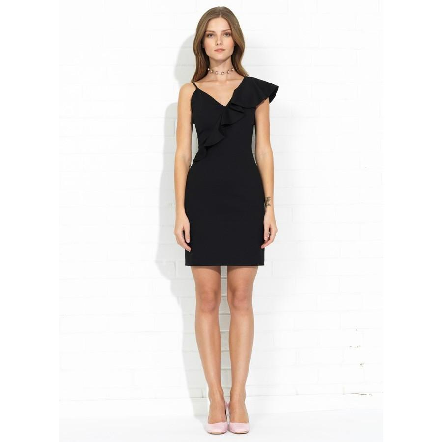 Danica Ruffle Cocktail Dress in Black-Women - Apparel - Dresses-AMANDA UPRICHARD-S-Peccadilly