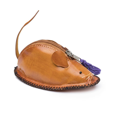 Leather Mouse Coin Pouch Fair Trade