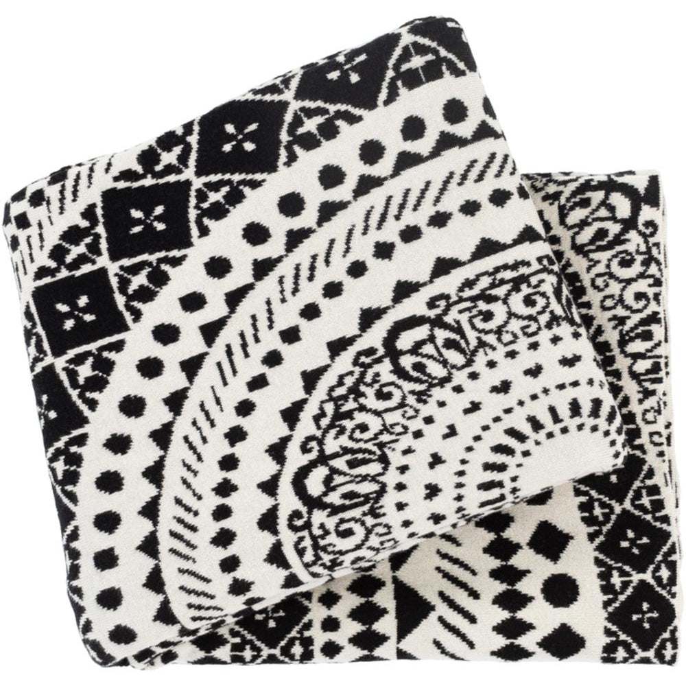 Ekena 50 x 60 Knitted Pure Cotton Throw Bohemian Blanket-Home - Accessories - Throw Blankets-SURYA-Black-Peccadilly