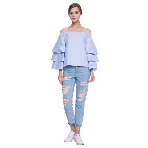 Endless Rose Tiered Off-Shoulder Top in Dusty Blue