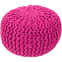 Fargo 20 x 20 x 14 Chunky Knit Pouf-Home - Accessories - Poufs + Floor Cushions-SURYA-Fuchsia-Peccadilly