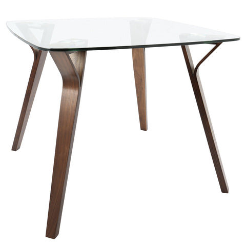 Folia Mid-Century Modern Dining Table in Walnut and Glass