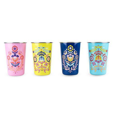 Frida Assorted Painted Floral Tumblers Set of 4
