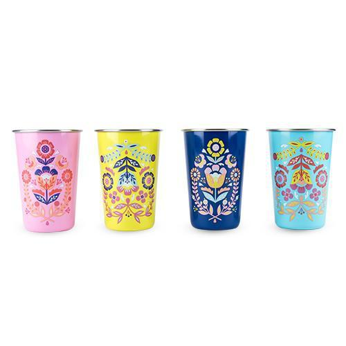 Frida Assorted Painted Floral Tumblers Set of 4-Home - Entertaining - Tumblers-BLUSH-Peccadilly