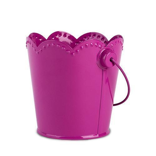 Set of 4 Scalloped Edge Metal Food Safe Pails-Home - Party Supplies - Party Decoration-CAKEWALK-Fuchsia-Peccadilly