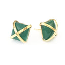 Martin 24k Gold Gemstone Criss Cross Studs-Women - Jewelry - Earrings-ADDISON WEEKS-Emerald-Peccadilly
