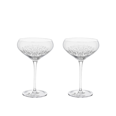 Garden Party Floral Crystal Cocktail Coupe Set