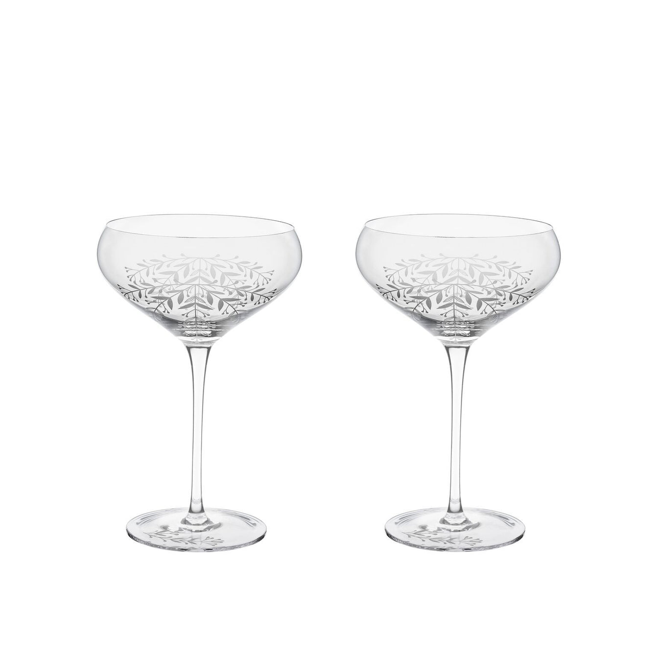 Garden Party Floral Crystal Cocktail Coupe Set-Home - Entertaining - Cocktail Glasses Sets-TWINE-Peccadilly