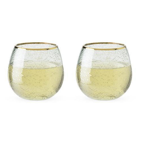 Garden Party Gold Rim Bubble Wine Glass Set