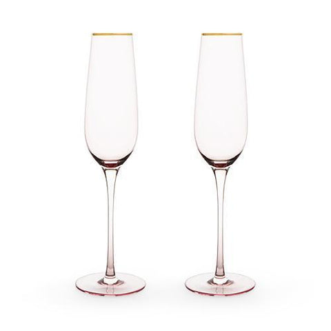 Garden Party Rose Crystal Champagne Flute Set
