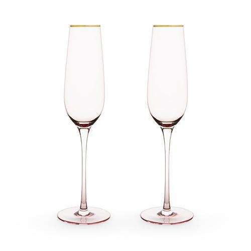 Garden Party Rose Crystal Champagne Flute Set-Home - Entertaining - Champagne Glasses Sets-TWINE-Peccadilly