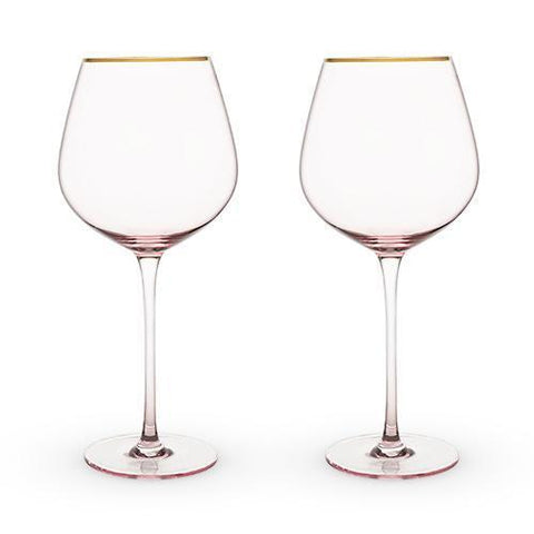Garden Party Rose Crystal Red Wine Glass Set